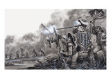 Under Attack from the Chavante Indians, 1980 Giclee Print by Ron Embleton