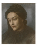 Portrait of Christina Rossetti, Head and Shoulders, Turned Three-Quarters to the Left, 1877 Giclee Print by Dante Gabriel Rossetti