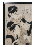 A Triple Portrait of Ohan of the Shinanoya, Choemon and His Wife Okinu Giclee Print by Utamaro Kitagawa