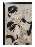 A Triple Portrait of Ohan of the Shinanoya, Choemon and His Wife Okinu Giclee Print by  Utamaro Kitagawa