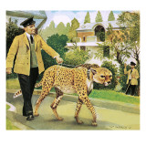 Who's Who at the Zoo: Rabiu, the Dog-Like Cat Giclee Print by G. W Backhouse