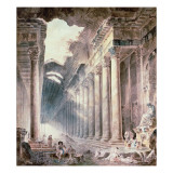 A Colonnaded Thermal Building, the Roof Partly Open to the Sky, with Girls Washing Clothes Giclee Print by Hubert Robert