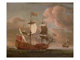 The British Man-O'-War `The Royal James' Flying the Royal Ensign Off a Coast Reproduction procédé giclée par Willem Van De, The Younger Velde