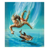 A Young Child Diving as a Tropical Fish Is Startled Giclee Print by Henry Fox