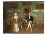 Group Portrait of a Lady and Two Gentlemen, Full Length, Seated at a Table Giclee Print by Philip Reinagle