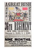 Federal Recruiting Poster for the 36th Regiment, New York Volunteers Giclee Print by  American School