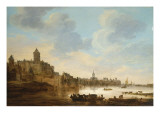 A Town on the Banks of a River, with a Ferry, 1648 Giclee Print by Jan Josephsz. Van Goyen