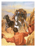 Australian Stage Coach Being Attacked by Outlaws Giclee Print by Barrie Linklater