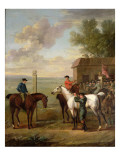 Racehorses with Jockeys Up by the Rubbing Down House on Newmarket Heath Giclee Print by John Wootton