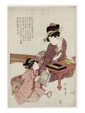 A Young Woman Seated at a Desk, Writing, a Girl with a Book Looks On Giclee Print by Kitagawa Utamaro