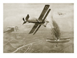 Captain Hawker's Aerial Battle with Three German Aeroplanes, July 25th 1915 Giclee Print by W. Avis