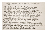 Portion of Gray's Elegy, in the Poet's Handwriting Giclee Print by English School