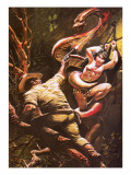 Colonel Percy Fawcett Saving a Beautiful Indian Maiden from a Ritual Sacrifice Giclee Print by Oliver Frey