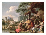 Jacob Burying the Strange Gods under the Oak by Shechem Premium Giclee Print by Sebastien Bourdon