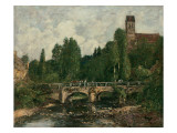 Saint-Cenery, the Church and the Bridge, 1892 Giclee Print by Eugène Boudin