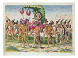 A Bride Is Carried to the Chief, from 'Brevis Narratio..', Engraved by Theodore De Bry Giclee Print by Jacques Le Moyne