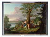River Landscape with a Nymph Plucking a Branch from a Bleeding Tree Giclee Print by Andrea Locatelli