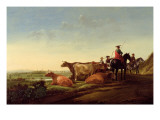 An Extensive River Landscape with a Herdsman Pointing the Way Giclee Print by Aelbert Cuyp