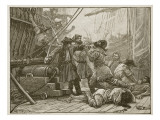 Revenue Cutters Capturing an American Smuggling Vessel Giclee Print by Paul Hardy
