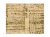 Johann Sebastian Bach - Pages from Score of the 'The Art of the Fugue', 1740S - Giclee Baskı