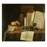 A Trompe L'Oeil with a Pewter Ink Stand, Books and Papers, 1702 Giclee Print by Edwaert Collier