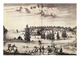 View of the Harbour and Town of Galle, Published in Amsterdam 1676 Giclee Print by  Dutch School