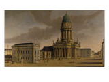 The Gendarmenmarkt with the French Playhouse and Cathedral, Berlin, 1788 Giclee Print by Karl Friedrich Fechhelm