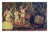 Four Spaniards Divscover Aztec Treasure But Do Not Plunder It, 1698 Giclee Print by Miguel Gonzalez