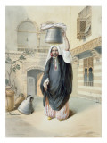 Young Arab Girl Returning from the Hammam in Cairo Reproduction procédé giclée par Emile Prisse d'Avennes