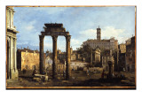 Rome - the Forum with the Temple of Castor and Pollux, C.1742-43 Giclee Print by Bernardo Bellotto