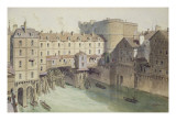 View of Petit Chatelet and the Petit Pont in 1717 Giclee Print by Theodor Josef Hubert Hoffbauer