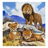 Mother's Gone A-Hunting, from 'Focus on Baby Animals' Giclee Print by G. W Backhouse