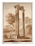 The Temple of Jupiter Tonans - Restored by Camporesi, 1833 Giclee Print by Agostino Tofanelli