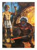Sigurd Watches Regin as He Forges the Wonderful Sword, Gramr Giclee Print by Alberto Salinas