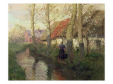 A French River Landscape with a Woman by Cottages Giclee Print by  Thaulow