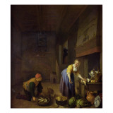 A Kitchen with a Kitchenmaid Preparing Poultry and a Fishmonger Delivering Fish Giclee Print by Hendrik Martensz Sorgh