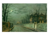 Old English House, Moonlight after Rain, 1883 Premium Giclee Print by  Grimshaw