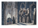 The Monks Covering the King with a Drape in the Camenz Convent Giclee Print by  German School