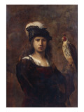 A Falconer, Standing Half Length, in a Feathered Hat Reproduction procédé giclée par  Rembrandt van Rijn