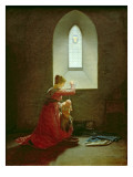 Genevieve of Brabant Baptising Her Son in Prison Gicle-tryk af Jean Baptiste Mallet