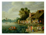 River Landscape with Gentry at a Village Inn Giclee Print by Jan Van, The Elder Kessel