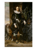 Portrait of King Charles I Wearing the Order of the Garter, with a Dog by His Side Premium Giclee Print by Sir Anthony Van Dyck