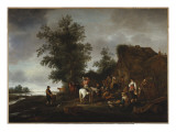 Travellers Refreshing Themselves at a Riverside Tavern, 1664 Giclée-Druck von Isaac Van Ostade