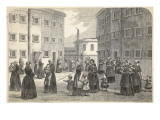 Mothers, with their Children, Exercising at Tothill Fields Prison Giclee Print by  English School