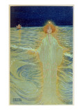 Ghost Appearing Above the Sea During the Night, Early 20th Century Giclee Print by Raphael Kirchner