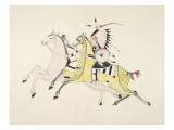 Sioux Warrior Armed with Sabre Attacking a Crow Indian Giclee Print by Kills Two
