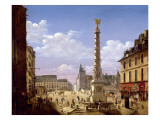 The Fountain in the Place Du Chatelet, Paris, 1810 Giclee Print by Etienne Bouhot