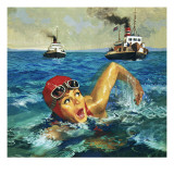 First Woman to Swim the Channel: Gertrude Ederle Giclee Print by  English School