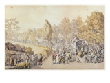 Cartoon Depicting Country Folk Leaving for the Town, 1818 Giclee Print by  Rowlandson