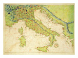 Italy, from an Atlas of the World in 33 Maps, Venice, 1st September 1553 Reproduction proc&#233;d&#233; gicl&#233;e par Battista Agnese